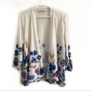 ❤️3/$30 Allison Daley spring flower cardigan.